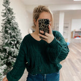 Rip N Emerald Green Cropped Sweater