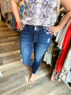 Dark Wash Double Button High Rise Jeans
