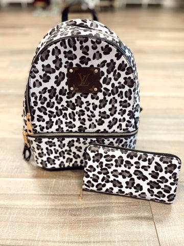 LV Vegan Animal Print Back Pack and Wallet
