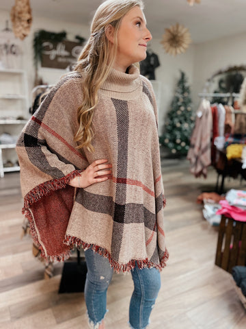Taupe Plaid Turtleneck Poncho
