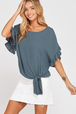 Not So Knotty Ruffle Sleeve Top-Teal