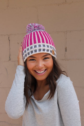 Pink Lined Pom Hat