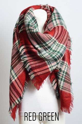Red/Green Flannel Blanket Scarf
