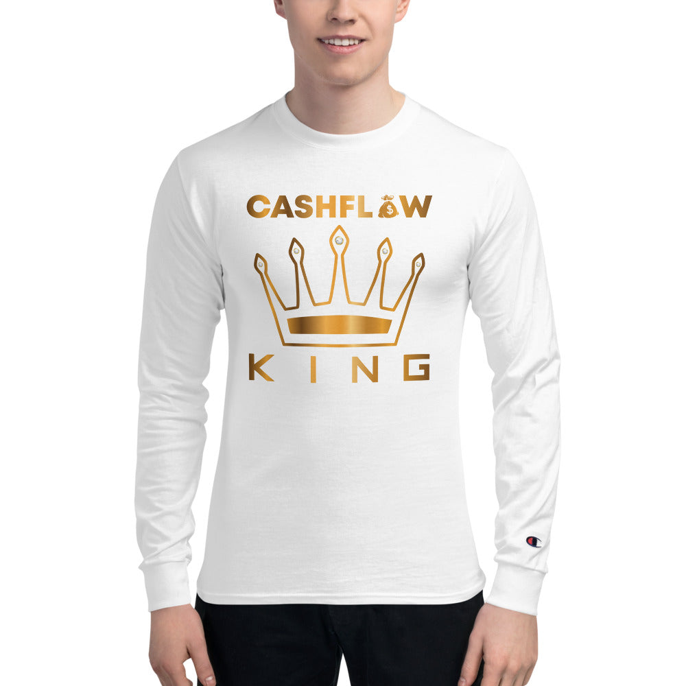 """Cashflow King"" Men's White Champion Long Sleeve Shirt"