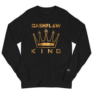 """Cashflow King"" Men's Black Champion Long Sleeve Shirt"