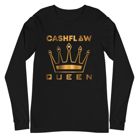 """Cashflow Queen"" Women's Black Long Sleeve"