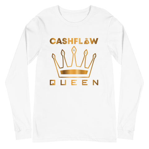 """Cashflow Queen"" Women's White Long Sleeve"