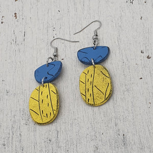Beach Hut Yellow and Blue Handmade Unique Statement Polymer Clay Earrings