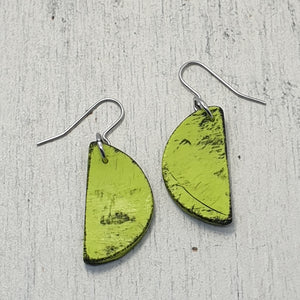 Lime Green Tropical Semi Circle Handmade Statement Dangle Earrings