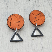 Load image into Gallery viewer, Geometric Orange & Striking Metals Polymer Clay Handmade Statement Stud Earrings