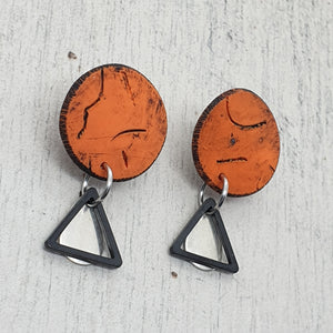 Geometric Orange & Striking Metals Polymer Clay Handmade Statement Stud Earrings