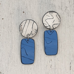 Azul Blue & White Statement Polymer Clay Handmade Earrings