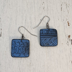 Kere Carved Earrings - Striking Squares Various Colours