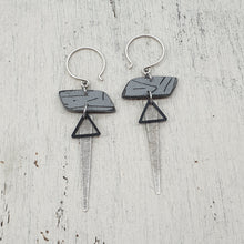 Load image into Gallery viewer, Rhomba Isle Strikes Earrings - Grey, Silver and Black