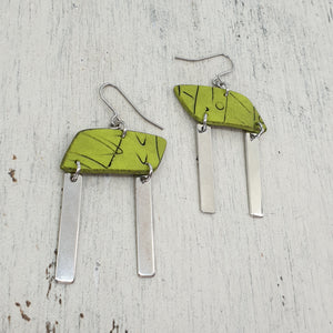 Rhomba Bar Earrings - Good Vibes Green, Silver and Black