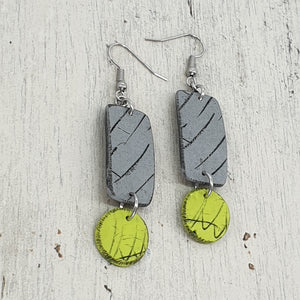 Azula Dot Isle Earrings - Gorgeous Grey and Vibey Green