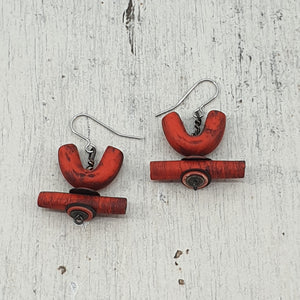 Red Fiery Huts Handmade Polymer Clay Statement Dangle Earrings
