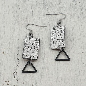 Contemporary Goddess Strikes Earrings - White, Black and Metal Accents