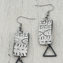 Load image into Gallery viewer, Contemporary Goddess Strikes Earrings - White, Black and Metal Accents
