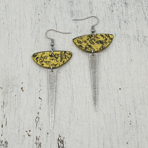 Sun Strikes Earrings - Yellow, Silver and Black