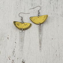 Load image into Gallery viewer, Sun Strikes Earrings - Yellow, Silver and Black