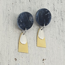 Load image into Gallery viewer, Geo Black & Striking Metals Polymer Clay Handmade Statement Stud Earrings