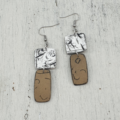 Azula Geo Isle Earrings - Natures Naturals White and Brown Hues Handmade Statement