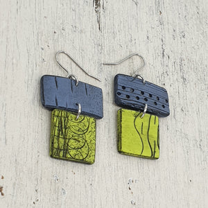 Barrier Reef - Blue and Cool Green Polymer Clay Statement Earrings