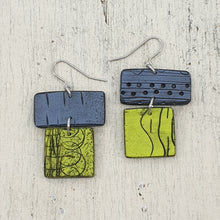 Load image into Gallery viewer, Barrier Reef - Blue and Cool Green Polymer Clay Statement Earrings