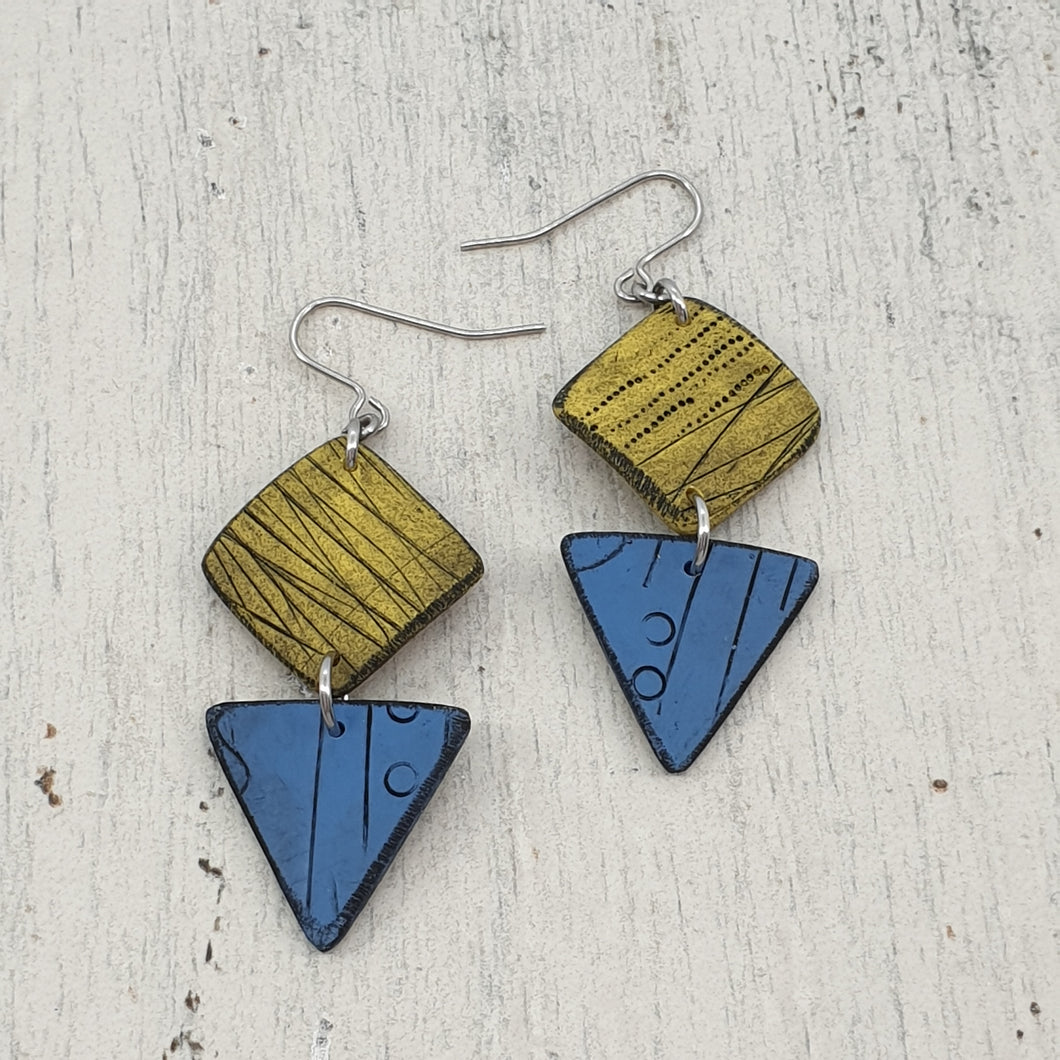 Sun and Seas Isle Polymer Clay Statement Earrings