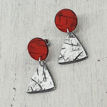 Load image into Gallery viewer, Red and White Handmade Energising Geo Statement Stud Earrings