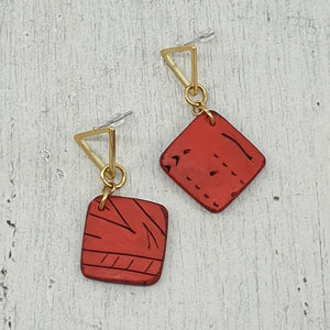 Striking Geo Red & Gold Polymer Clay Handmade Statement Stud Earrings