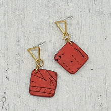 Load image into Gallery viewer, Striking Geo Red & Gold Polymer Clay Handmade Statement Stud Earrings