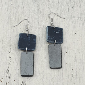 Azula Geo Isle Earrings - Grey and Black Handmade Statement