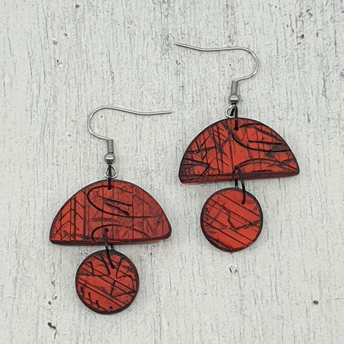 Red Hills Handmade Polymer Clay Statement Dangle Earrings