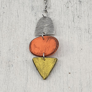 Summer Fun Orange and Yellow Unique Handmade Polymer Clay Pendant