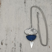 Load image into Gallery viewer, Ocean Rays Handmade Polymer Clay Statement Blue and White Pendant
