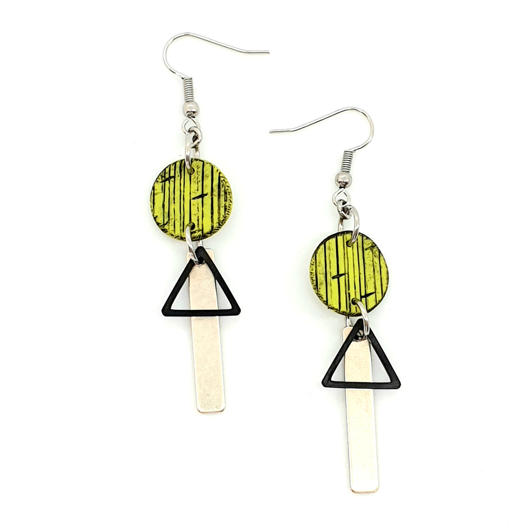 Inise Bar Isle Earrings - Green, Black and Silver Strikes
