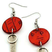Load image into Gallery viewer, Inise Strikes Isle Earrings - Red, Black and Silver