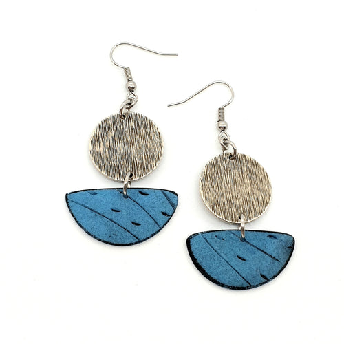Inise Sail Earrings -  Floating Away - Blue and Silver