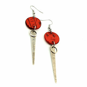 Inise Strikes Isle Earrings - Red, Black and Silver