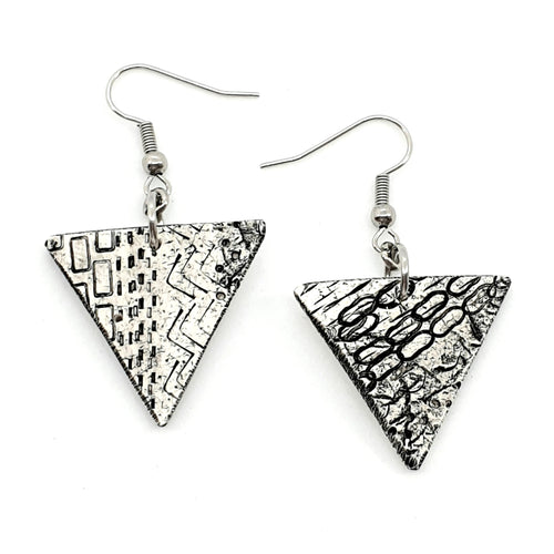 Geometric Black and White Chic Handmade Statement Earrings