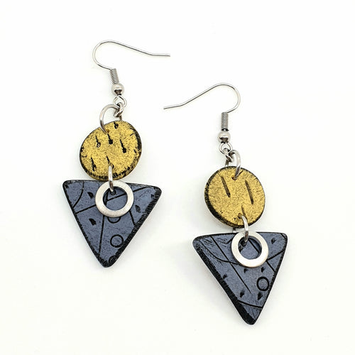Geo Dots Isle Earrings - Yellow and Blue