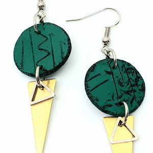Geo Dot Strikes Isle Earrings - Green, Black and Gold