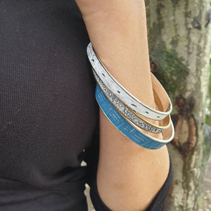 Isle Bangle - Handmade Polymer Clay Inlaid Silver Channel Bangles Various Colours