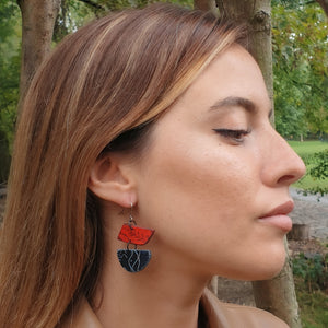 Moia Sails Earrings - Red & Black