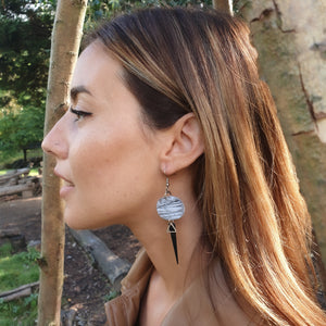 Odalys Isle Strikes Earrings - White, Grey and Black