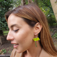 Load image into Gallery viewer, Rhomba Bar Earrings - Good Vibes Green, Silver and Black
