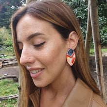 Load image into Gallery viewer, Statement Earrings Handmade Red and Yellow Autumnal Hues Sterling Silver Studs