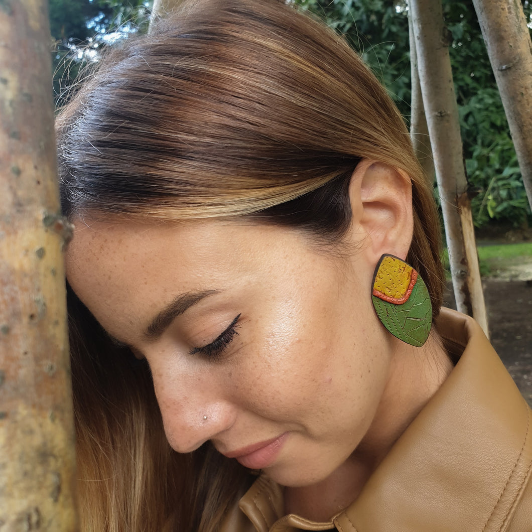 Statement Earrings Handmade Olive Green and Mustard Sterling Silver Studs
